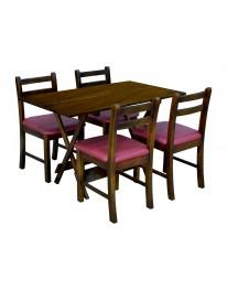 Mesa Dobrável 1,20 X 70 c/ 04 Cadeiras Estofadas - Bordô Metalizado