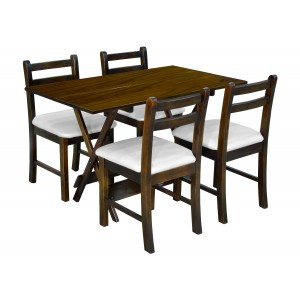 Mesa Dobrável 1,20 X 70 c/ 04 Cadeiras Estofadas - Pérola Metalizado