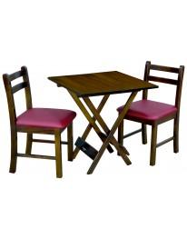 Mesa Dobrável 70 X 70 c/ 02 Cadeiras Estofadas - Bordô Metalizado