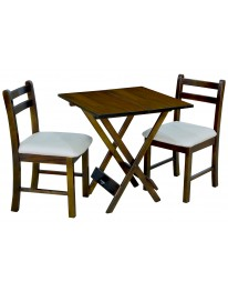 Mesa Dobrável 70 X 70 c/ 02 Cadeiras Estofadas - Pérola Metalizado