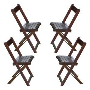 Kit com 04 Cadeiras Dobráveis - Imbuia